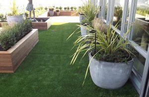 artificial grass on backyard apartment deck outdoors
