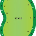 13 foot by 20 foot kidney bean shaped putting green kit diagram