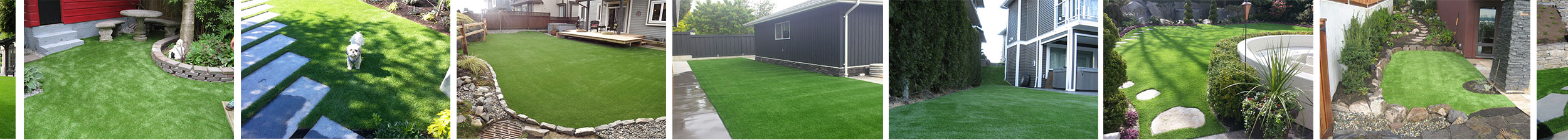 examples of artifiicial grass in residential backyards