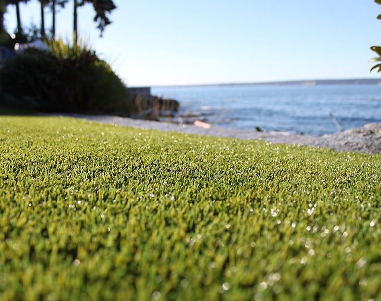 close up shot of artificial grass in backyard near water