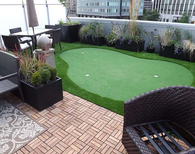 Artificial grass with lounge