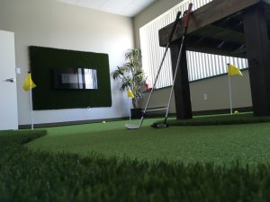 artificial grass putting green system in business office indoor