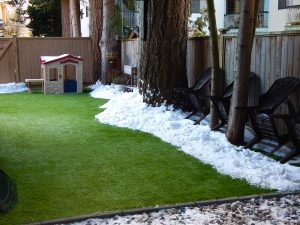 artificial grass melting snow in the winter
