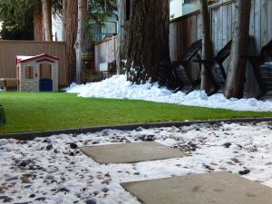snow on artificial grass in canadian winter
