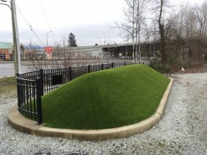 artificial grass used at cp rail yard in british columbia