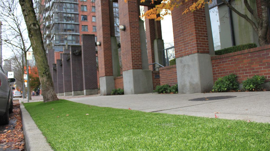 artificial grass lawn on public sidewalk in vancouver bc