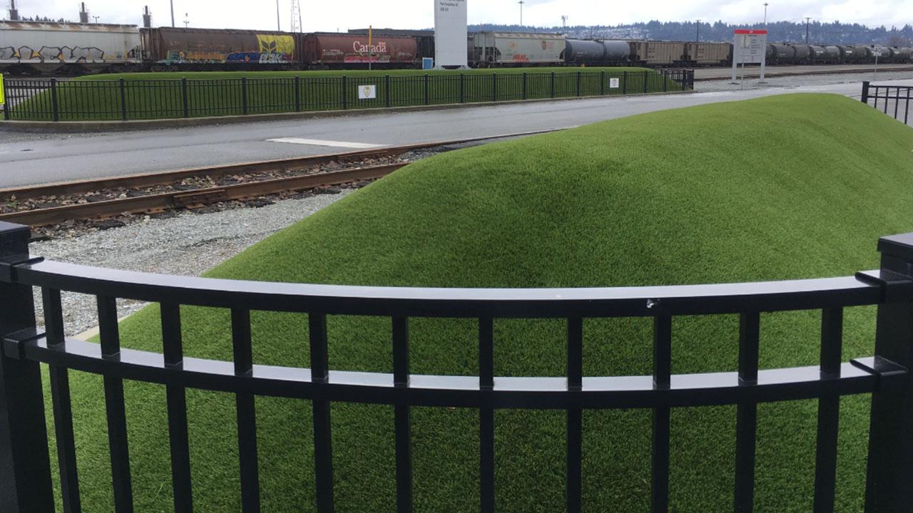Artificial grass train path