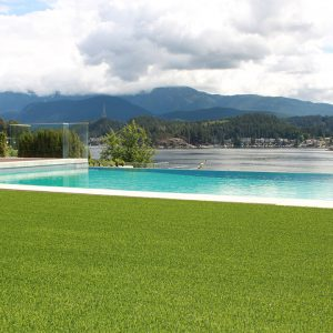 Artificial grass with pool and mountain view
