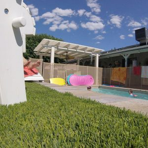 Artificial grass with pool