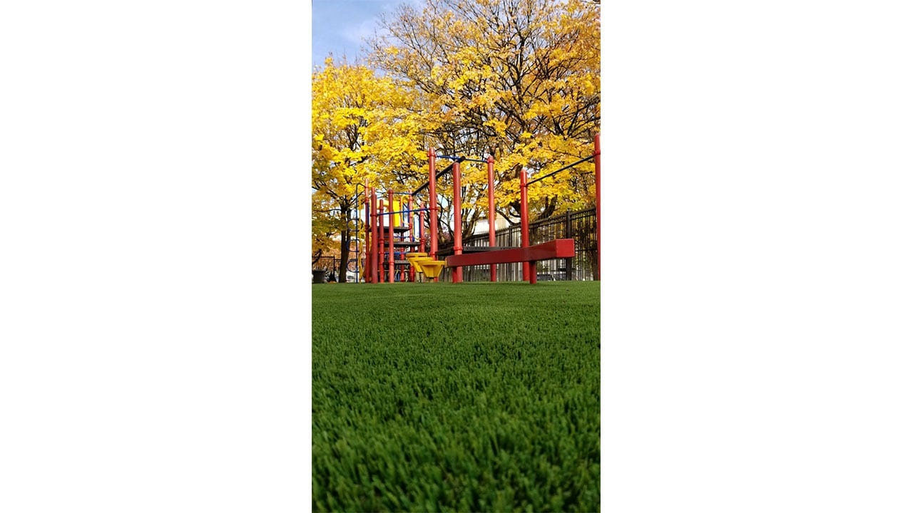 school playground play area on artificial grass field