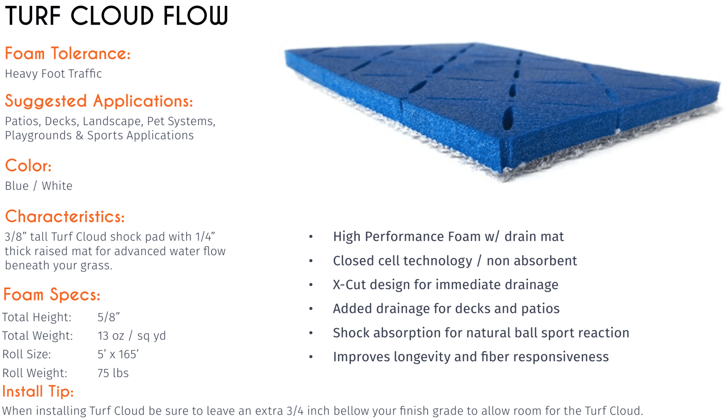 specification sheet for turf cloud pro drainage mat for artificial grass