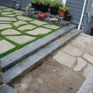 artificial grass with paver stones for landscape design