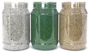 jars full of artificial grass infill