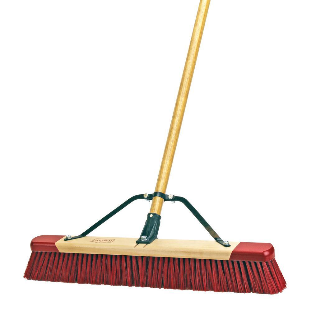stiff bristle push broom