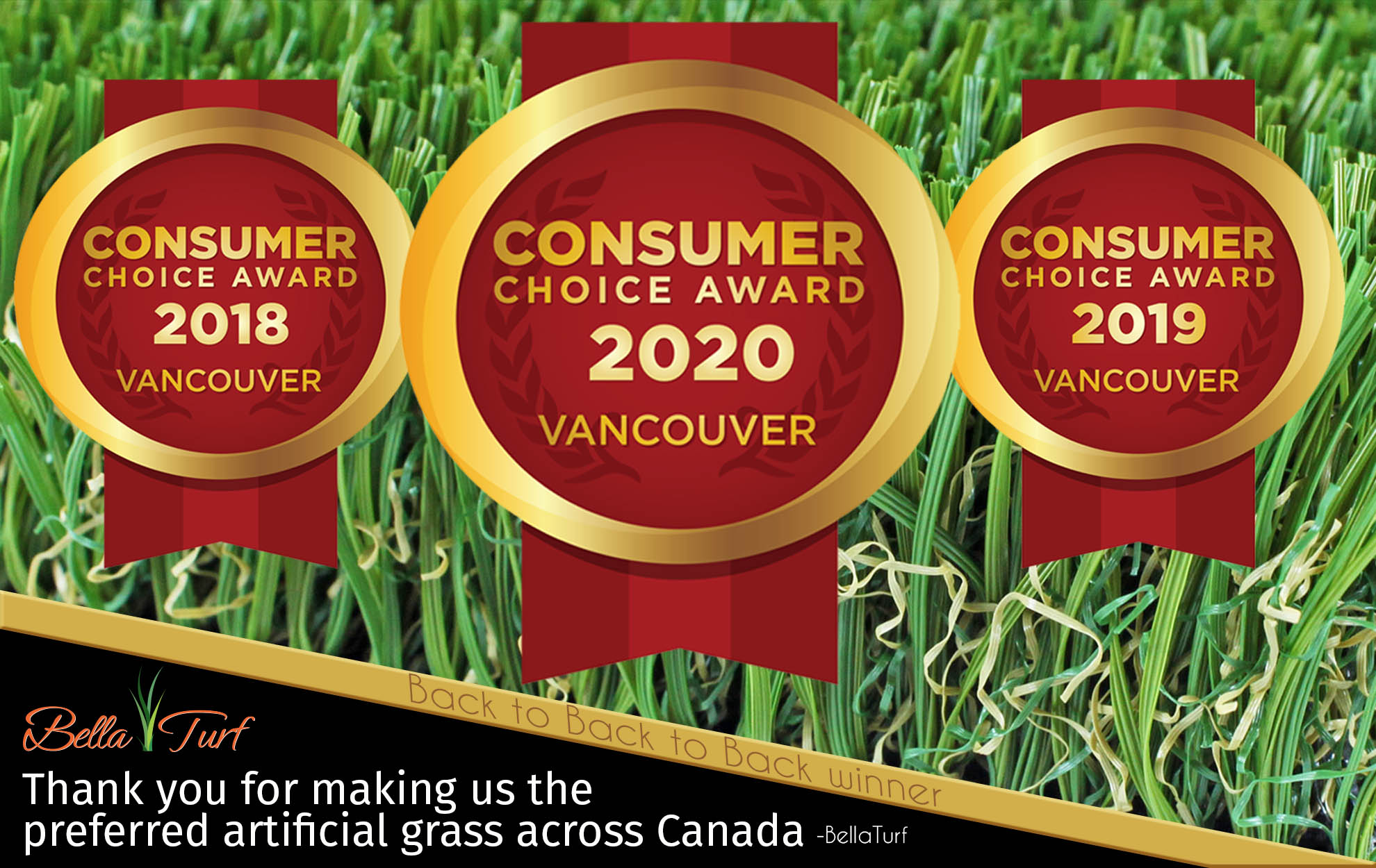 bella turf wins artificial grass of the year consumer choice award three years in a row