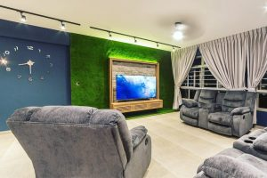 artificial grass used on wall inside of home