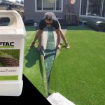 professional installing artficial grass in bakyard of home