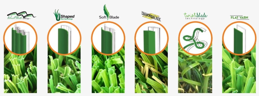 different blade shapes available for artificial grass