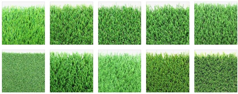 different color swatches of artificial grasses
