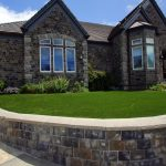 artificial grass used in front yard of residential home