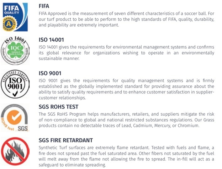 bella turf artificial gras is fifa approved, iso 14001 and iso 9001 certified, passed the sgs rohs test and is sgs fire retardant