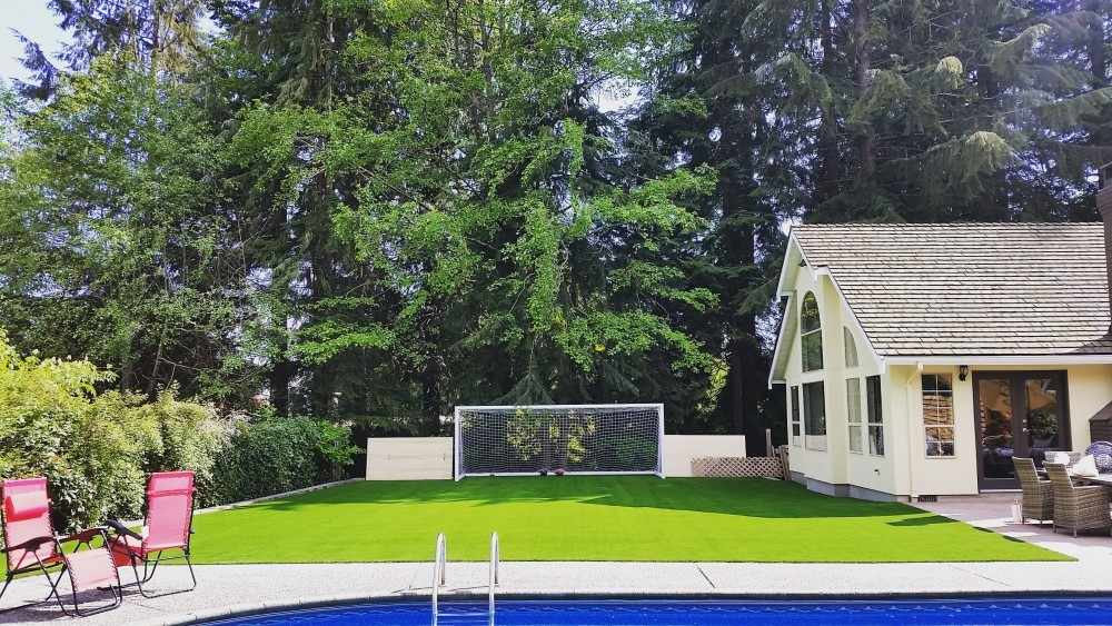 residential backyard with artificial grass